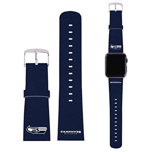Head Case Designs Offizielle NFL Einfarbig Seattle Seahawks Logo Blaue Kunststoff Leder Schnalle & Gurt kompatibel mit 42mm Strap & Silver Adapter Kit 42 Mm Kit