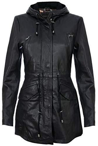 Infinity Leather Parker Jacke Aus Schwarzem Leder Mit Kapuze Und Mehreren Taschen L -