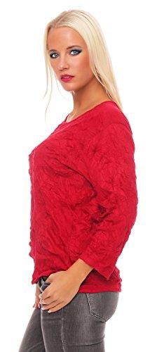 Zarmexx Damen Basic Shirt Crash Optik Crinkle Baumwollshirt Oberteil Bluse Business Casual Lava