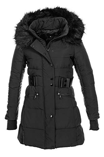 Elara Chaqueta Acolchada de Invierno de Mujer Chunkyrayan H-G902 Black-36 S