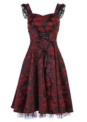 Schwarz-rotes 50s PinUp Gothik Damen Kleid mit schwarzer Spitze und Schnürung – Gr. (Pinup Halloween)