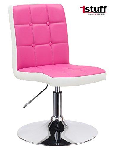 Bürostuhl LADYLIKE STUDIO von 1stuff - höhenverstellbarer und 360 drehbarer Kosmetikstuhl, Schminkstuhl, Schreibtischstuhl, Bürostuhl, Arbeitshocker, Drehsessel, Drehstuhl (pink-weiß, Lederimitat mit Standfuß)