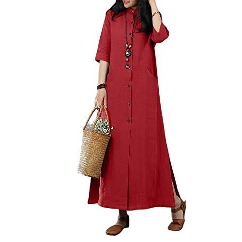 FeiXing158 Kleid Vintage Knöpfe unten 3/4 Ärmel solide lässig Split Hem Kaftan - Kleid Blue Royal Shift