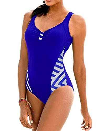 KISSLACE Damen Badeanzug Sport mit Körbchen Figurformend Push up Swimsuit Oversize Monokini Schwimmanzug Bademode X-Blau EU 46/Etikettgröße 2XL