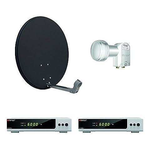 Opticum HD AX 300 Digitale 2 Teilnehmer Satelliten-Komplettanlage mit HDTV-Receiver (Twin-LNB, 60 cm Antenne) anthrazit/silber (TÜV zertifiziert)