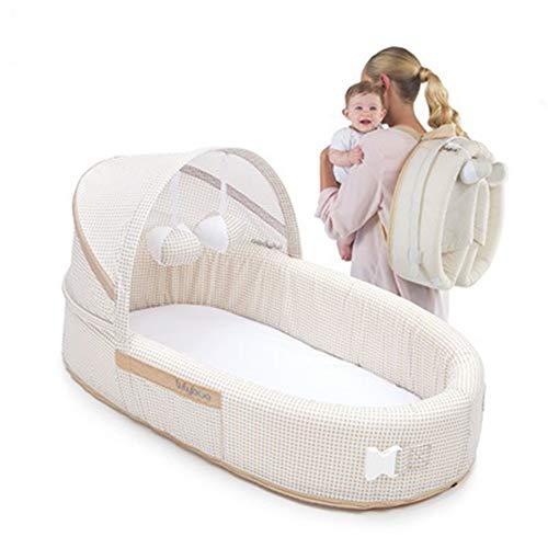 KLI Cama Plegable De Viaje 4 En 1 Cuna Portátil De Bebé Recién Nacido Junto A La Persona Que Duerme, 41.9 * 36.8 * 15.2Cm,Beige