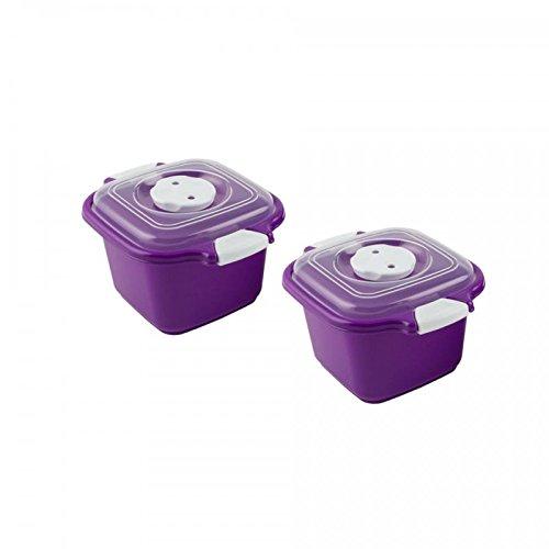 Lantelme 4505 2 pièces bol allant au micro en plastique de couleur pourpre avec couvercle 0,5 litre