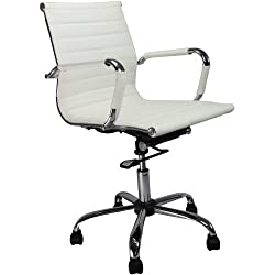 Eliza Tinsley 8003PU/WH Swivel Leather Effect Armchair -White