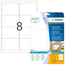 HERMA Self Adhesive Removable Address Mailing Labels, 8 Labels Per A4 Sheet, 200 Labels For Printers, 99.1 x 67.7 mm (10018)