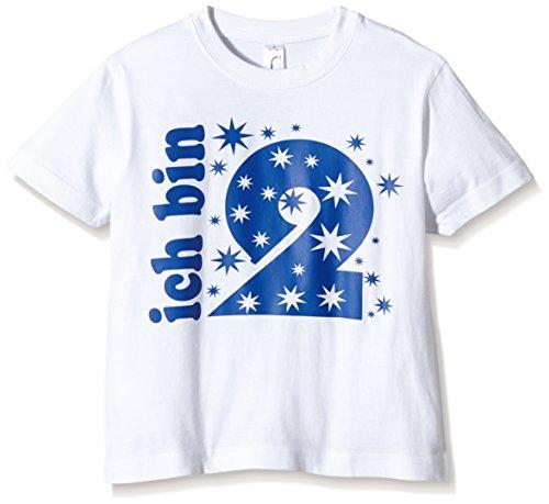 Coole-Fun-T-Shirts Jungen T-Shirt Ich Bin 2 Jahre!, Gr. One Size (Herstellergröße: 98cm/1-2 Jahre), Weiß (Weiss-Navy)
