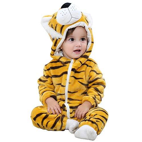 Pagliaccetto con cappuccio cerniera con cerniera flanella tute tute stile animali neonato unisex primavera autunno inverno abiti per bambini ragazzi ragazze (13-18 mesi, tigre)