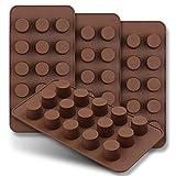 HomEdge, Set di 4 mini stampi per cioccolatini con 15 stampini, antiaderenti, in silicone per uso alimentare, per caramelle, cioccolato, burro di arachidi