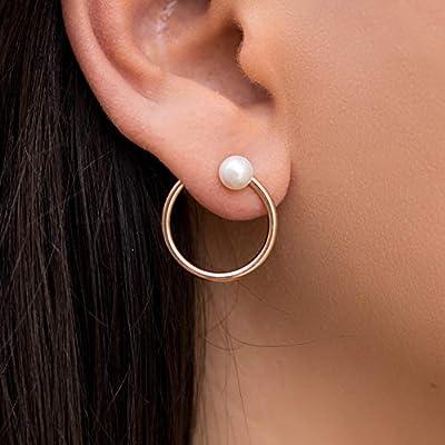 Boucles d'oreilles cerceau en argent sterling 925 avec perles naturelles, faites à la main par Emmanuela, cadeau de bijoux moderne et élégant, boucles d'oreilles creoles d'art grec uniques