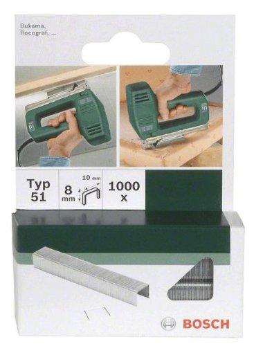 Bosch 2609255832 Set de 1000 agrafes à fil plat Type 51 Largeur 10 mm Epaisseur 1 mm Longueur 8 mm