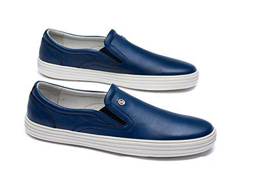 OPP Hommes Mocassins en Cuir Loafers Chaussures Bateau & de Ville Bleu Fonc¨¦