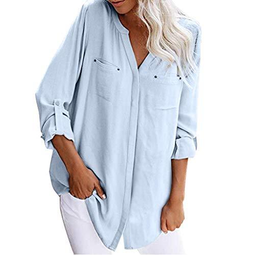 Monstars ❤️ Camicetta Casual da Donna con Bottoni Maglia a Maniche Lunghe Top a Tunica Camicie Donna Stand Camicetta Pieghettata Orlo Irregolare Camicie T Shirt Tops
