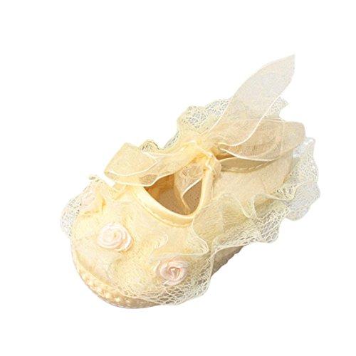 Igemy 1 Paar Baby Mädchen weiche Sohle Spitze Blume Riband Anti-Rutsch beiläufige Prinzessin Schuhe Kleinkind Gelb