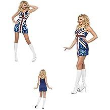 Fancy Dress Four Less Vestido de fútbol con lentejuelas para mujer, diseño de bandera de