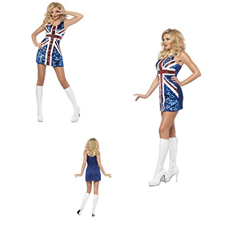 Womens Adult Union Jack World Cup Soccer Sequined Dress Ginger Spice All That Glitters Rule Britannia Fancy Dress Costume (Small UK Dress ()