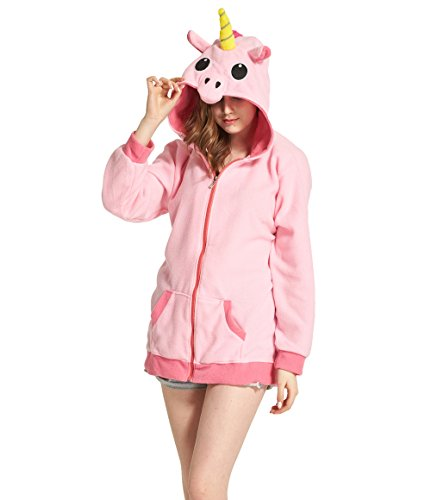 Hstyle Unisex Cartoon Einhorn Kostüm Hoodies Seitentaschen Reißverschluss Mit Kapuze Tier Cosplay Sweatshirt Casual Wear Niedliche Jacke Rosa (Charakter Cartoon Hoodies)
