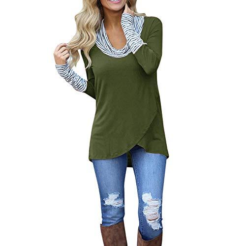 B-commerce Damen Hoodies Damen-Pullover mit U-Boot-Ausschnitt Streifen Langarm-Sweatshirt Unregelmäßige Gemütliche Herbst-Tunika