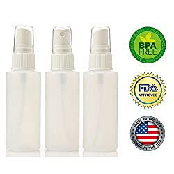 2oz Plastic Spray Bottles with Fine Mist Sprayer (3pk) FDA APPROVED Non Toxic, BPA Free MADE IN USA Travel Accessories Bottles
