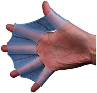 Kry - Guantes palmeados de medio dedo para natación, silicona
