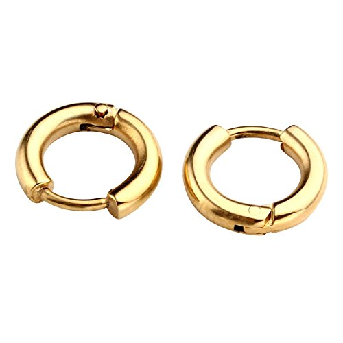 PiercingJ Paar Unisex 8-16mm Edelstahl Hoop Creolen Hinged Huggie Helix Tragus Ohrring Ohrpiercing Silber Gold Schwarz 18G (Gold 08mm) (Gold Ohrringe Hoop)