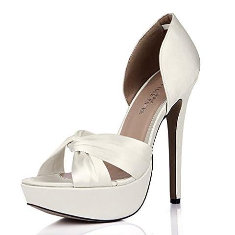 Sandales femme Afficher vue nouvelle damassé blanc laiteux de hauts talons sur un sol rouge chaussures de mariage, Opal