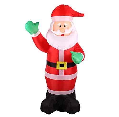(AYQ Weihnachtsdekoration Aufblasbarer Weihnachtsmann WeihnachtsatmosphäRe Weihnachtsdeko 180cm GrüNer Handaufblasbarer Alter Mann GeräUscharmes GebläSe WitterungsbestäNdig SpritzwassergeschüTzt LED)