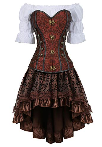 Rosfajiama Women's Lace up Steampunk Gothic Overbust Corset Dress Plus Size Bustier with Skirt 6X-Large Brown