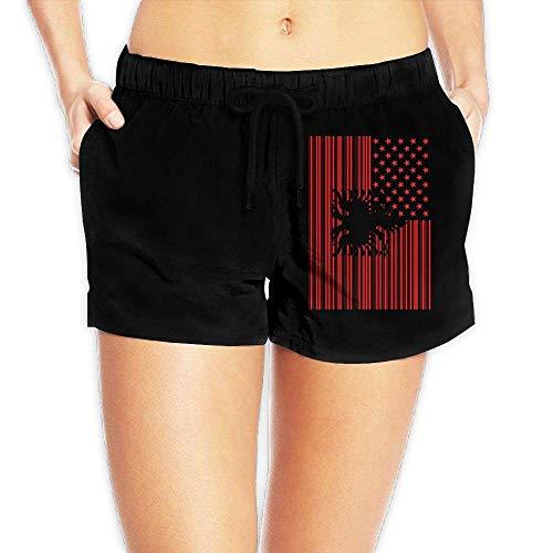 Hwgss Bar Coded USA Albanian Flag Womens Lightweight Beach Board Shorts Summer Casual Bathing Suit Pockets(XL) -