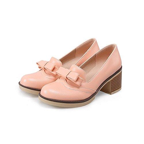AllhqFashion Damen Mittler Absatz Weiches Material Rein Rund Zehe Pumps Schuhe Pink