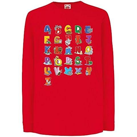 N4654D La camiseta de los niños con mangas largas Alphabet