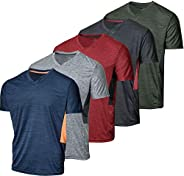 5 Pack: Men's V-Neck Dry-Fit Moisture Wicking Active Athletic Tech Performance T-S