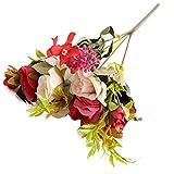 Whiie891203 Piante Artificiali di Fiori Finti, Composizioni di Mazzi di Fiori Decorazioni Centrotavola Floreali da Tavolo per Cucina Domestica Garden Party Grave Decorazioni Fai da Te Rosso
