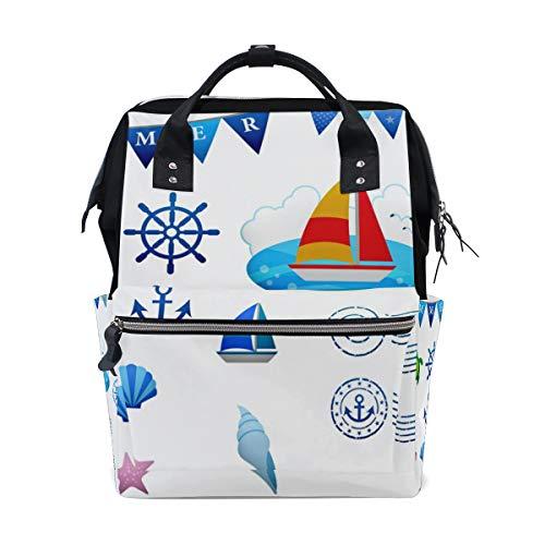 College School Bookbag Rucksack Laptop Rucksack Reisetasche für Mädchen Jungen nautische Clipart
