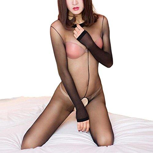 Nylon-körper (FJLOVE Damen Lingerie Catsuit Ouvert Nylon Körper Strumpfhosen Langarm Dessous Hautfarbe Und Schwarz,Black)