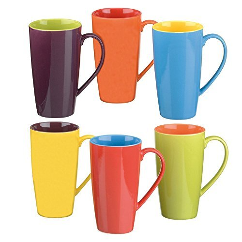 Colourful Cups & Mugs Set of 6 Harlequin Cappuccino Mugs, Assorted Colors by Colourful Cups & Mugs