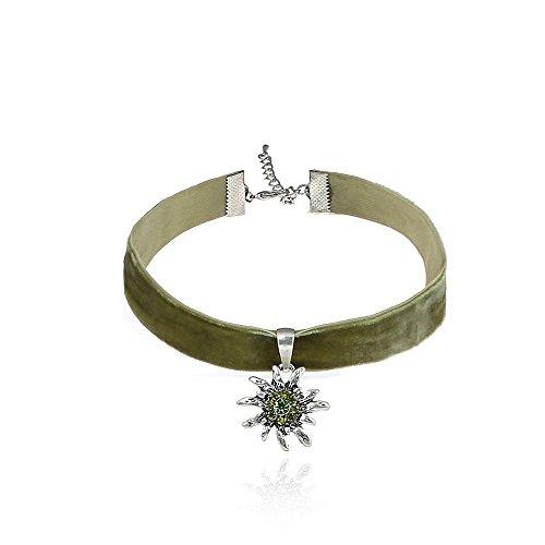 Alpenklunker Halsband Choker Kropfband Edelweiß viele Farben passend zum Dirndl Tracht Schmuckrausch Farbe Grün