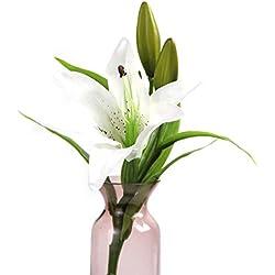 JimTw-FR Fête De Noël De Bricolage Maison Jardin Floral Le Bouquet De Mariage Triage Faux Lily Pve Décoration 1 Direction Des Fleurs Artificielles Réaliste