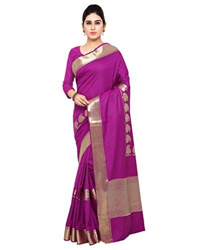 Varkala Silk Sarees Women's Art Silk Paithani Saree With Blouse Piece(JB5007PV_Purple_Free Size)