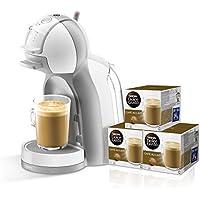 Pack Krups Dolce Gusto Mini Me - Cafetera de cápsulas, 15 bares de presión, color blanco y gris + 3 packs de café Dolce Gusto Con Leche