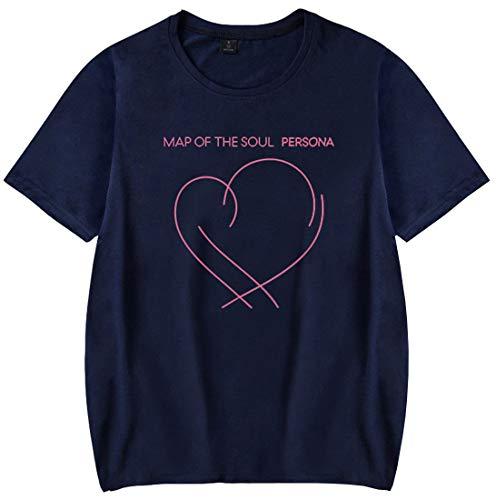 EMILYLE Mujer BTS Camiseta Manga Corta Love Yourself Persona Corazón Tshirt Top KPOP M,Azul Oscuro J Hope