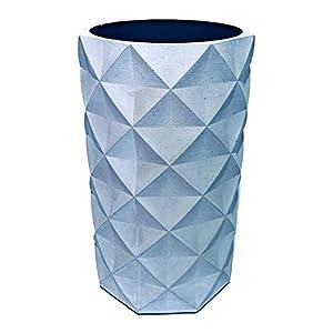 Klare Kante Vase | Weinkühler 'Pentagon', Beton, hellgrau, H 20 cm, Ø 10 cm