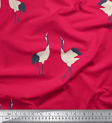 Soimoi Rosa Baumwolljersey Stoff Fliegender Storch Vogel Drucken Nahen Stoff 1 Meter 58 Zoll breit