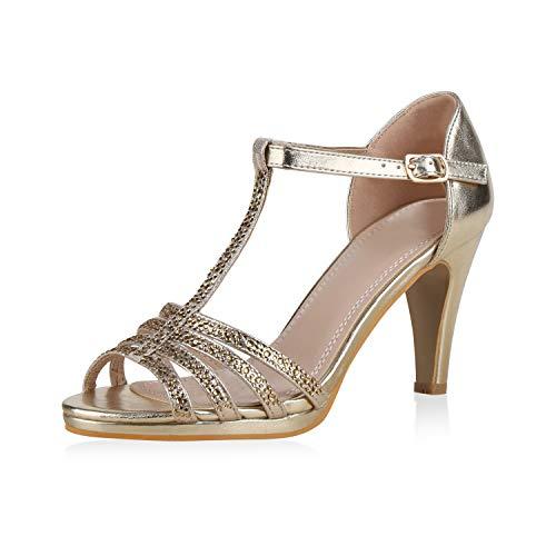 Sommer Gold Schuhe (SCARPE VITA Damen Pumps Riemchensandaletten Strass Sandaletten Stiletto High Heels Metallic Schuhe Absatzschuhe Elegante 183224 Gold Total 38)