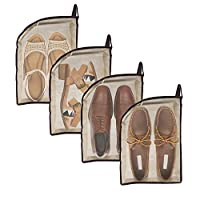 Shoe Bag- 4pcs Shoe Bags Portable Travel Shoes Organizer Bags - Gym Bag and Large Size Shoes Bags for Travel - Dust Proof Breathable Space Saver Bags with Zipper for Towels, Slippers and More
