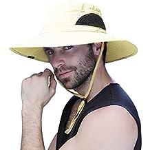 Sombrero Hombre Verano Pescar Excursionismo Pescador de ala Ancha Plegable  y Impermeable para el Sol Sombrero 8ec64a3d800