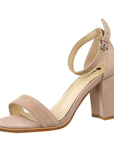 WSS 2016 Chaussures Femme-Habillé-Noir / Rose / Rouge / Gris / Amande-Gros Talon-Talons / Bout Ouvert / Bout Arrondi-Talons-Daim red-us5 / eu35 / uk3 / cn34
